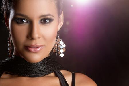 Beautiful glamorous latin woman closeup photo