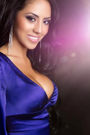 Beautiful glamorous smiling young latina woman Stock Photo