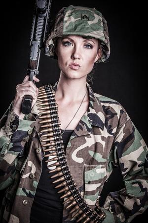 Beautiful female marine soldier