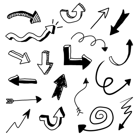 Hand drawn vector arrow doodle set