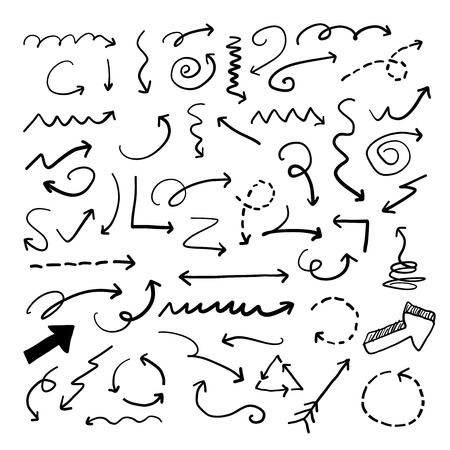 Hand drawn vector arrow doodle collection