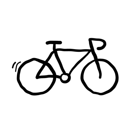 Bicycle hand drawn doodle vector.