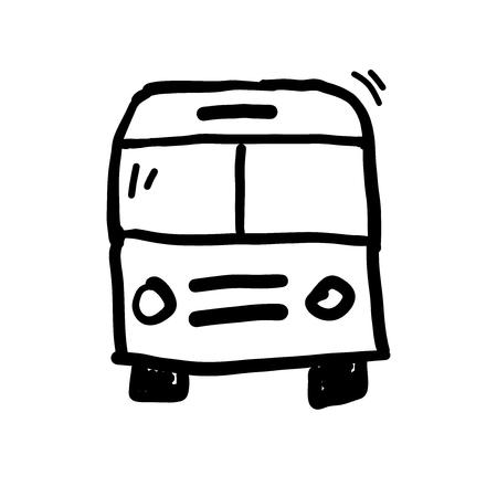 Hand drawn bus doodle vector illustration. Illustration