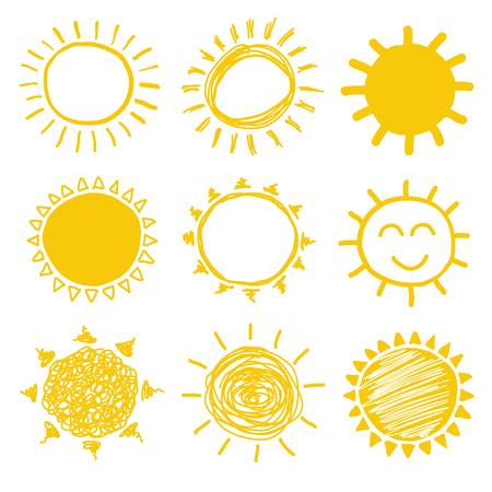 Yellow vector sun doodles collection.