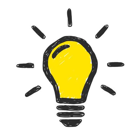Yellow light bulb vector doodle illustration.