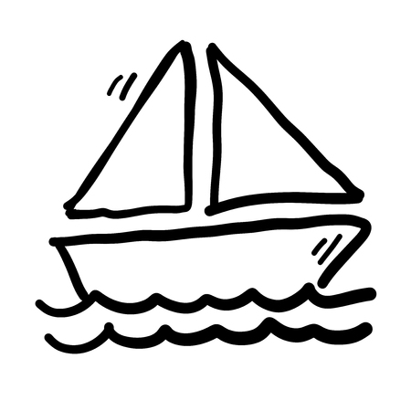 Sailboat on water doodle vector illustration.