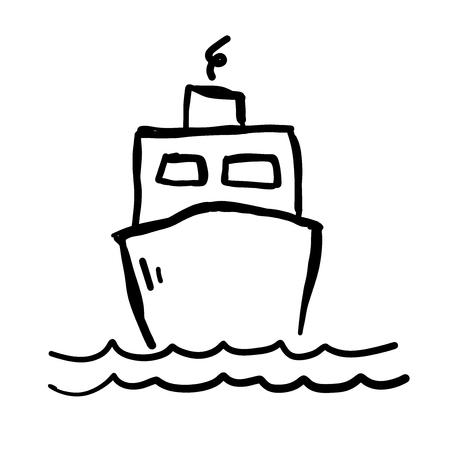 Schip op water doodle vectorillustratie.