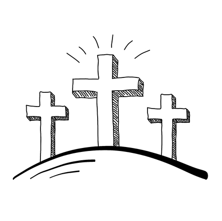 Easter three crosses doodle vector illustration.