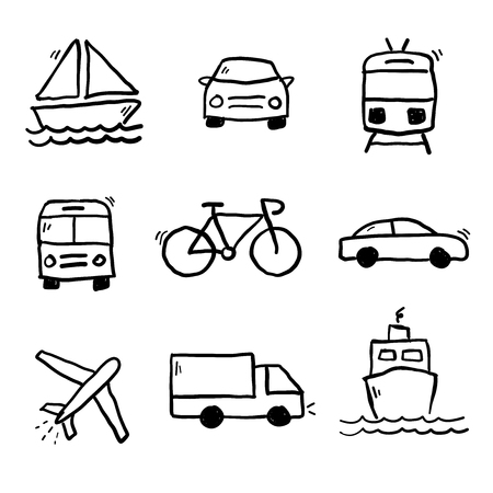 Transportation doodle drawings collection vector illustration. Illustration