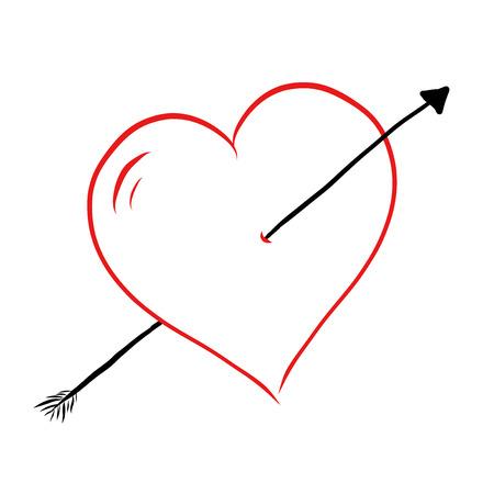 Arrow shot through vector heart