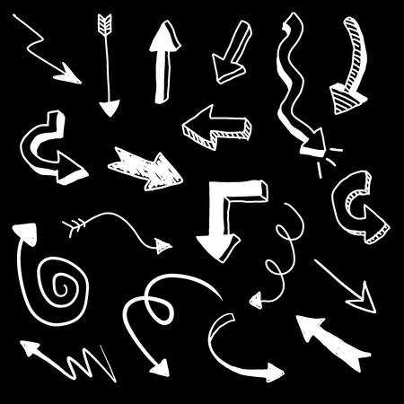 White doodle vector arrows on black background Illustration