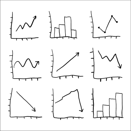 Set of hand drawn graphs and charts
