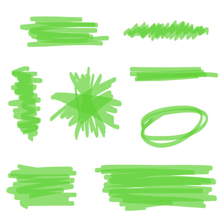 Green hand drawn vector highlighter collection