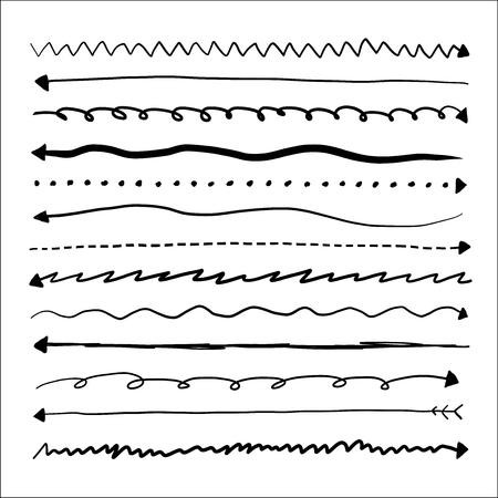Set of long doodle vector arrows