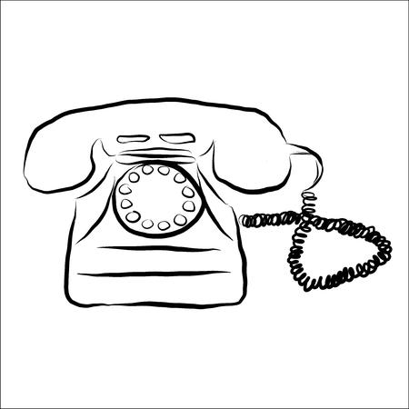 Retro phone doodle vector illustration Illustration