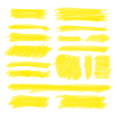 Vector yellow highlighter set with opacity