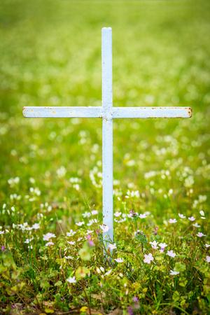Simple cross in field of flowers Stock Photo