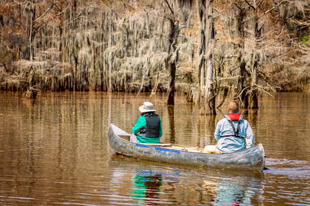 Two people kayaking on lake
