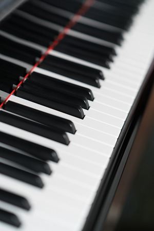 Closeup of black and white piano keys Stock Photo