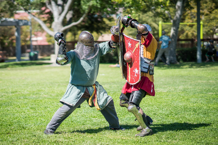 Medieval renaissance knights sword fighting