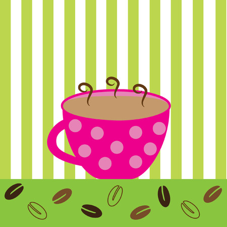 green coffee beans: Pink Coffee Mug