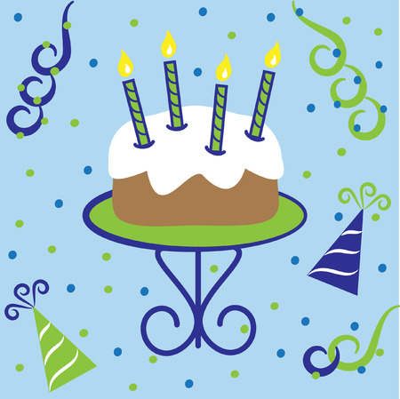 blue flame: Happy Birthday Cake Illustration