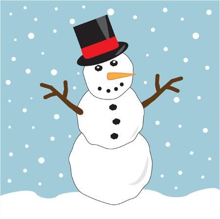 Snowman dragen van hoge hoed Stock Illustratie