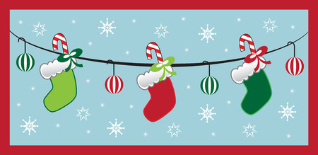 Hanging Christmas Stockings Vector
