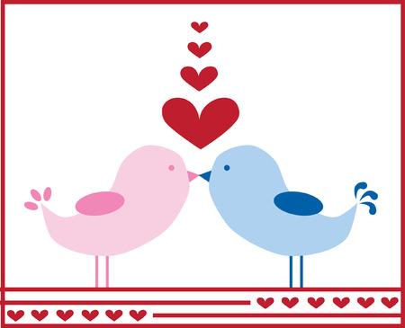 Love Birds Kissing Illustration