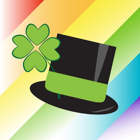 St Patricks Day Rainbow Hat Vector