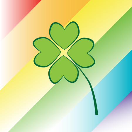 st  patricks: Four Leaf Clover on Rainbow