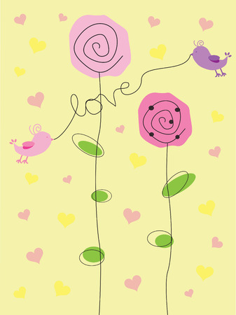 Valentine Love Birds Vector