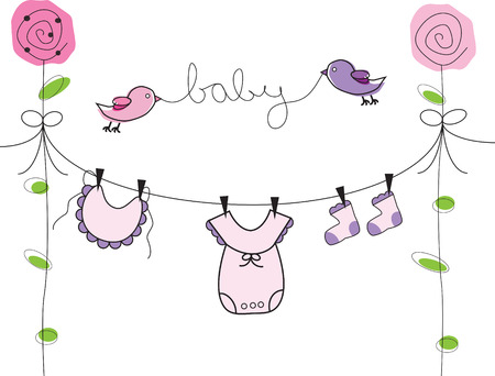 Baby Clothes Line Stock Vector - 8977034