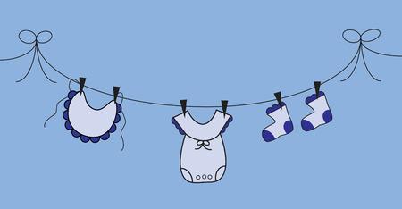 Ligne de vêtements bébé garçon Banque d'images - 9103888