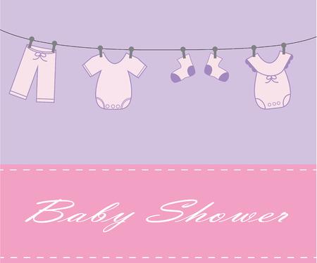 Baby Girl Shower Invite Vector
