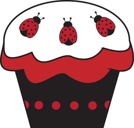 cartoon ladybug: Ladybug Cupcake Illustration