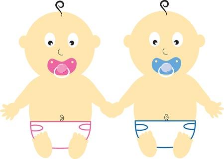 Babies Holding Hands Vector