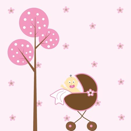 Baby Girl in Stroller Vector