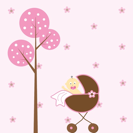 Baby Girl in Stroller Stock Vector - 9223678