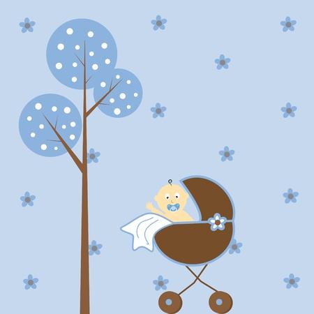 Baby Boy in Stroller Vector