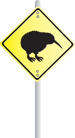 flightless bird: Kiwi Crossing Road Sign Illustration