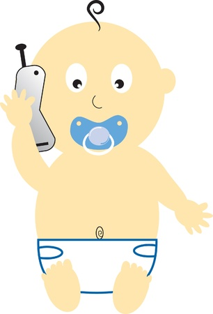 Baby Boy on Cell Phone Illustration