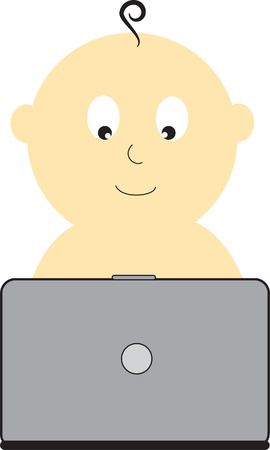 Baby With Laptop Vector