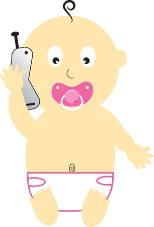 Baby Girl on Cell Phone Illustration