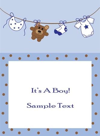 Baby Boy Announcement Illustration
