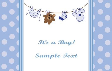 Blue Baby Boy Announcement Vector