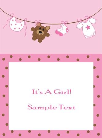 Baby Girl Announcement Illustration