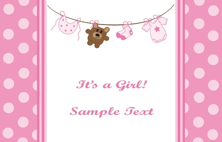 Pink Baby Girl Announcement Stock Vector - 9716796