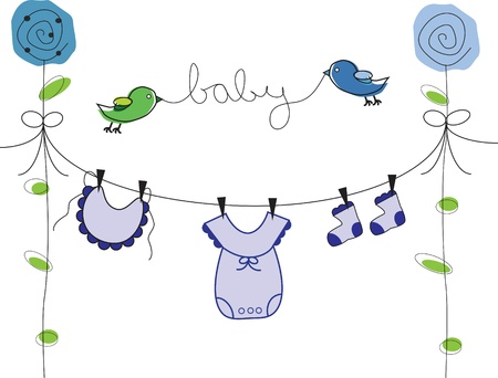 Baby Boy Clothes Line Vector