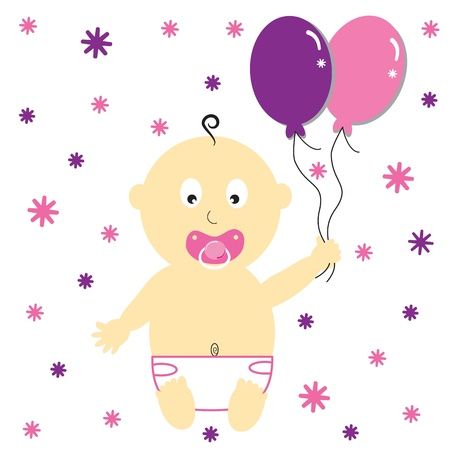 baby girl: Baby Girl with Party Balloons Illustration